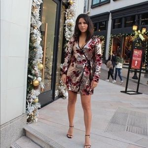ZARA Sequin floral crossover wrap dress